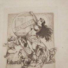 Arte: GRABADO DE ALEXANDRE DE RIQUER (1856-1920), EX LIBRIS. 28,5X22 CM.. Lote 269246043