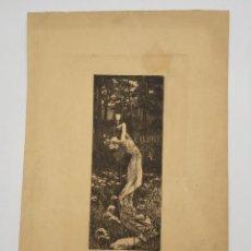 Arte: GRABADO DE ALEXANDRE DE RIQUER (1856-1920), EX LIBRIS.. Lote 269246333