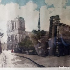 Arte: GRABADO FIRMADO A LÁPIZ. TITULADO ''PARIS RUE SAINT JULIEN LE PAUVRE''.. Lote 269255613