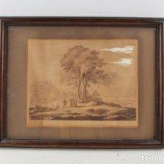 Arte: CLAUDE LORRAINE, PAISAJE, CASTILLO, PERSONAS Y ANIMALES, GRABADO, 1777, CHEAPSIDE. 27X22CM. Lote 269378633