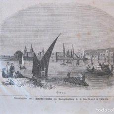 Arte: VISTA DEL CANAL DE SUEZ (EGIPTO, ÁFRICA), HACIA 1892. ANÓNIMO. Lote 269379623
