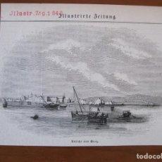 Arte: VISTA DEL ISTMO DE SUEZ (EGIPTO, ÁFRICA), 1848 1850. ANÓNIMO. Lote 269380783