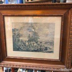 Arte: ANTIGUO GRABADO CON MAGNFICO MARCO DE MADERA - MEDIDA MARCO 89X74 CM. Lote 269450533