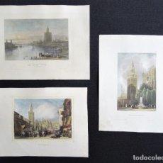 Arte: SEVILLA, GIRALDA, PROCESIÓN, TORRE DE ORO - JUEGO DE 3 GRABADOS POR MEYER, 1835. Lote 269468883