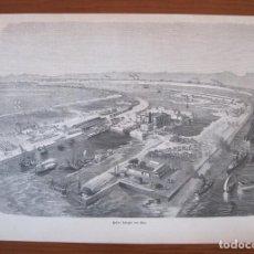 Arte: INSTALACIONES PORTUARIAS DE SUEZ (EGIPTO, ÁFRICA), HACIA 1880. ANÓNIMO. Lote 269469483