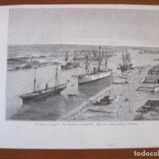 Arte: VISTA DEL PUERTO DE SAÍD (SUÉZ, EGIPTO), 1882. ANÓNIMO. Lote 269469973