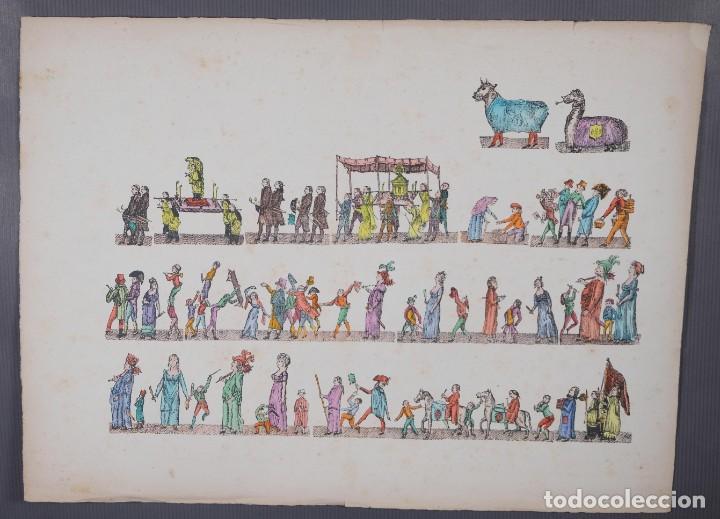 GRABADO COLOREADO CEREMONIA PRINCIPIOS SIGLO XX (Arte - Grabados - Contemporáneos siglo XX)