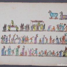Arte: GRABADO COLOREADO CEREMONIA PRINCIPIOS SIGLO XX. Lote 269743823