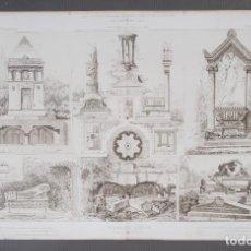 Arte: GRABADO ARQUITECTURA - TOMBEAUX DIVERS - IMP. GRAVILLON AVENUE D'ORLEANS 1887. Lote 269744668
