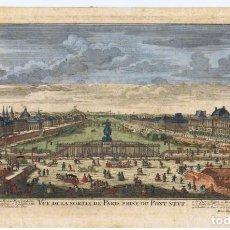 Arte: VISTA DE PARIS, PRISE DU PONT NEUF POR MARTIN ENGELBRECHT. GRABADO ILUMINADO A MANO. S. XVIII.. Lote 270182088