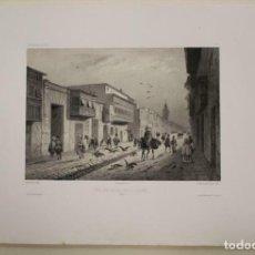 Arte: GRAN VISTA DE LA CALLE VALLADOLID EN LIMA (PERÚ), 1840. LAUVERGUE/BICHEBOIS-V. ADAM/BERTRAND. Lote 270863773