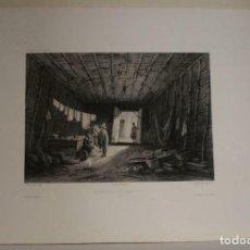 Arte: GRAN VISTA INTERIOR DE UNA CASA NATIVA EN PAITA (PERÚ), 1840. LAUVERGNE/BICHEBOIS-V. ADAM/BERTRAND. Lote 270871613