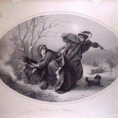 """Arte: LITOGRAFÍA """"L'HIVER / WINTER"""". RÉGNIER BETTANIER Y MORLON BASSAGET. PARIS SIGLO XIX. Lote 272459698"""
