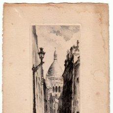 Arte: MAGNÍFICO GRABADO FRANCÉS. PARIS. LA RUE SAINT RUSTIQUE NÚMERADO 406 FIRMADO TOURDAY?. Lote 272704563