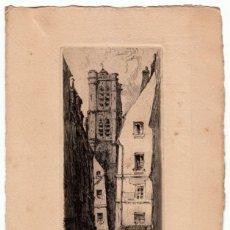 Arte: MAGNÍFICO GRABADO FRANCÉS. PARIS. LA RUE DU GRENIER-SUR-L'EAU, NUMERADO 408 FIRMADO TOURDAY?. Lote 272707703