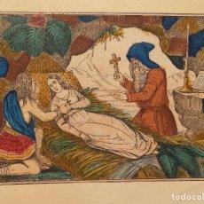 Arte: LIBRERIA GHOTICA. RARO GRABADO DEL SIGLO XIX ILUMINADO A MANO. MEDIDAS 33 X 25 CM. EXORCISMO.. Lote 274649978
