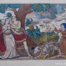 Arte: LIBRERIA GHOTICA. RARO GRABADO DEL SIGLO XIX ILUMINADO A MANO. MEDIDAS 33 X 25 CM. CONJUROS.. Lote 274649988