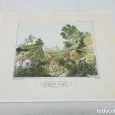 Arte: GRABADO ILUMINADO - ESCENA DE CAZA S. XIX, HUNTING PARTY, CARLE VERNET 1824. Lote 254443855