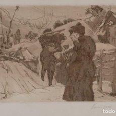 Arte: GRABADO PAISAJE MONTAÑA CON FIGURAS FIRMADO A LÁPIZ ENRIQUE 1975. Lote 275534248
