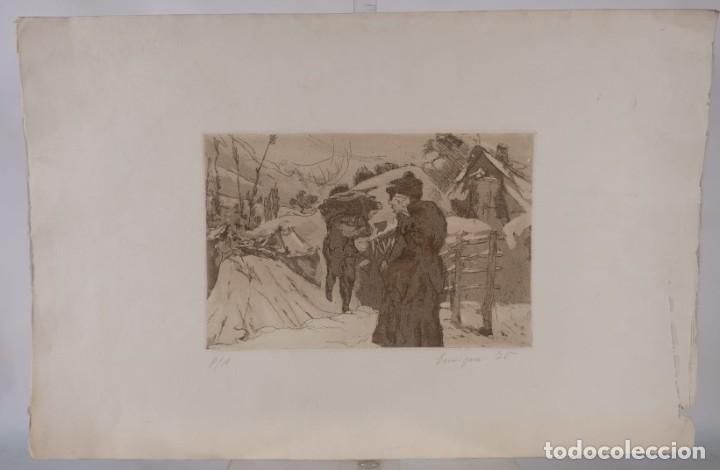 Arte: Grabado Paisaje montaña con figuras firmado a lápiz Enrique 1975 - Foto 2 - 275534248