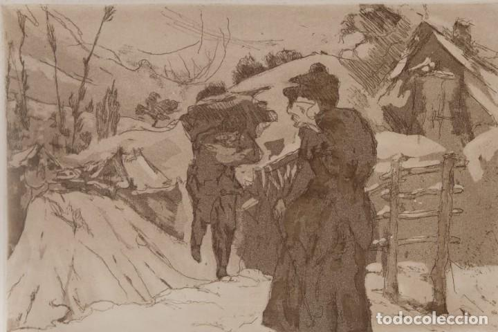 Arte: Grabado Paisaje montaña con figuras firmado a lápiz Enrique 1975 - Foto 3 - 275534248