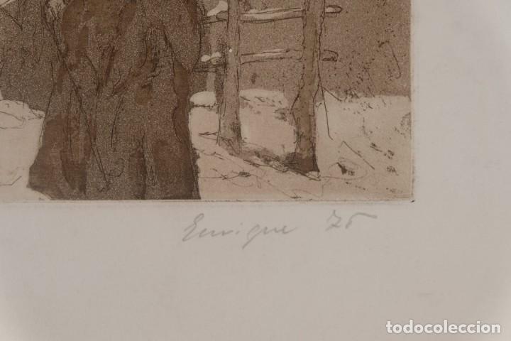 Arte: Grabado Paisaje montaña con figuras firmado a lápiz Enrique 1975 - Foto 4 - 275534248