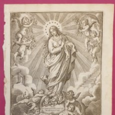 Arte: ESPECTACULAR GRABADO DE 1700 A 1800DE LA VIRGEN INMACULADA. Lote 275719123