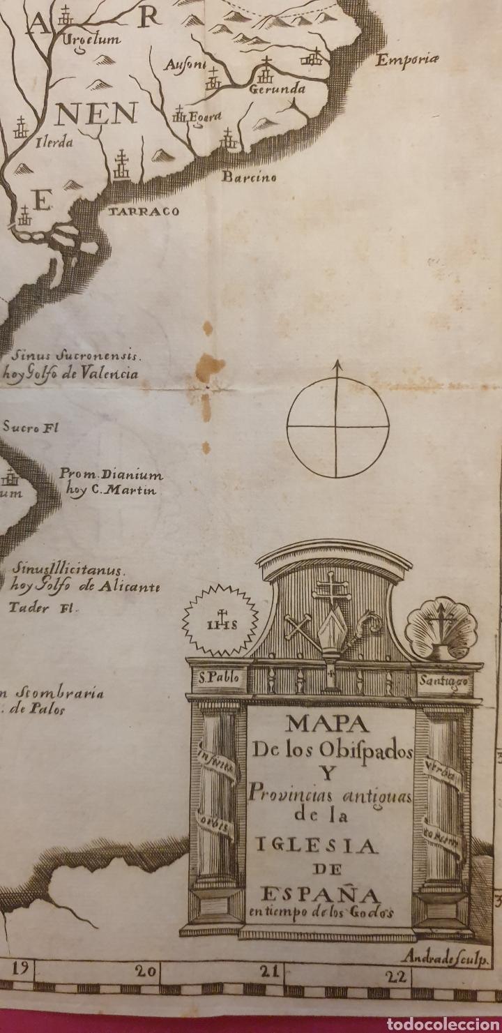 Arte: Gran grabado de un mapa de los obispados y provincias de España de entre 1700 a 1800 - Foto 2 - 275722173