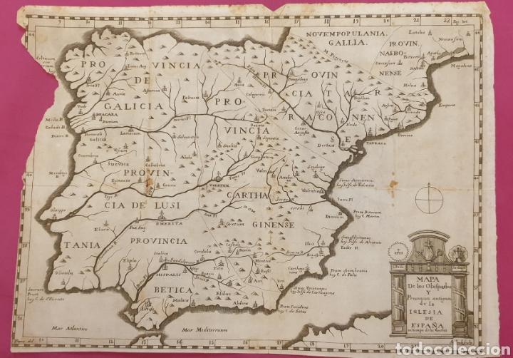 GRAN GRABADO DE UN MAPA DE LOS OBISPADOS Y PROVINCIAS DE ESPAÑA DE ENTRE 1700 A 1800 (Arte - Grabados - Antiguos hasta el siglo XVIII)