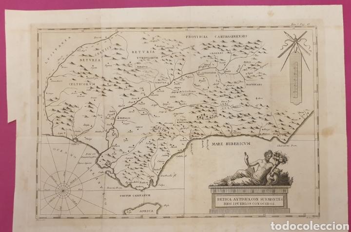 GRAN GRABADO DE ENTRE 1700 A 1800 DE LA BÉTICA ANTIGUA RÍOS Y MONTES (Arte - Grabados - Antiguos hasta el siglo XVIII)