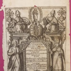 Arte: GRABADO SOBRE LA HISTORIAS ECLESIÁSTICA 1638. Lote 275727958