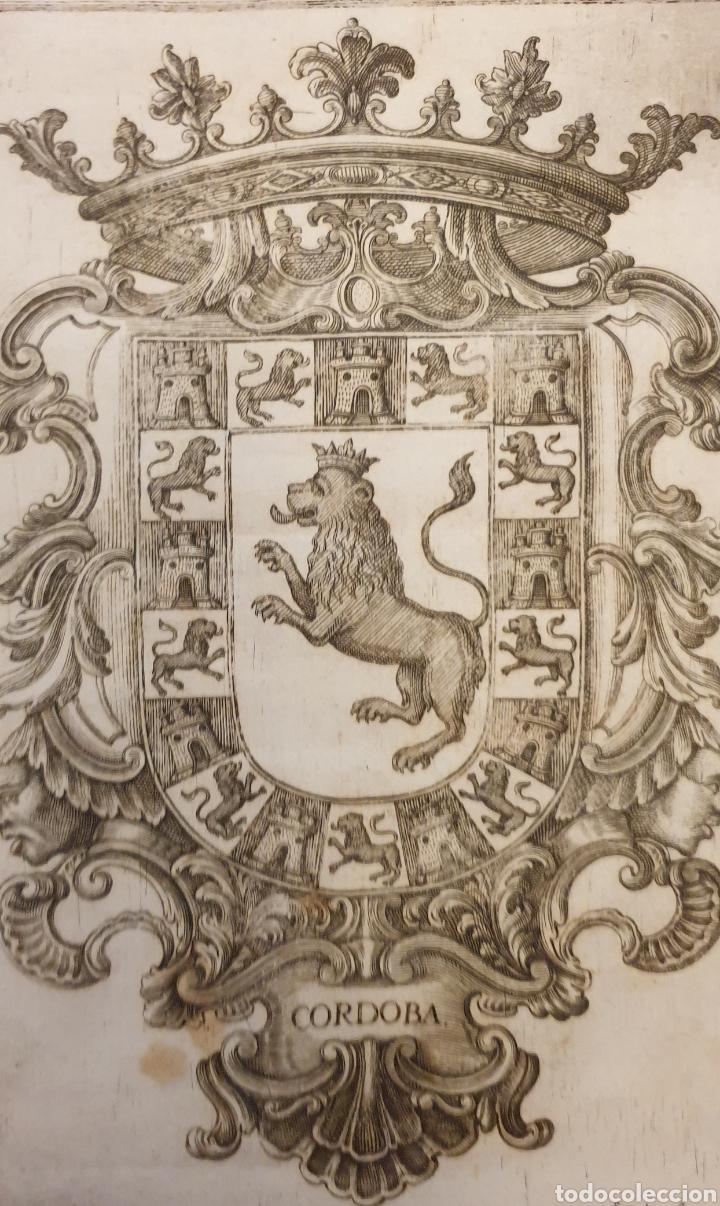 Arte: Bonito grabado del escudo de la ciudad de cordoba entre 1700 a 1800 - Foto 2 - 275729193