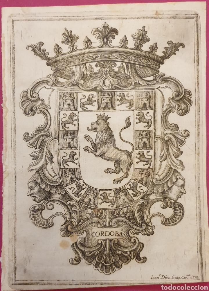 BONITO GRABADO DEL ESCUDO DE LA CIUDAD DE CORDOBA ENTRE 1700 A 1800 (Arte - Grabados - Antiguos hasta el siglo XVIII)
