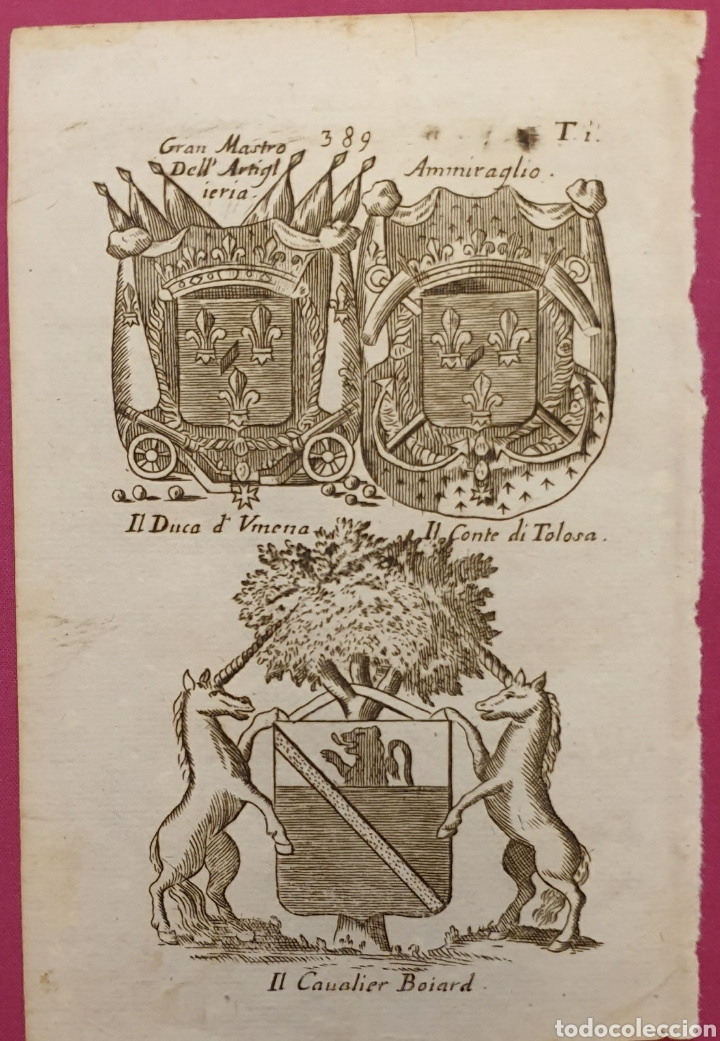 Arte: Grabado de escudos italianos o franceses - Foto 2 - 275729953