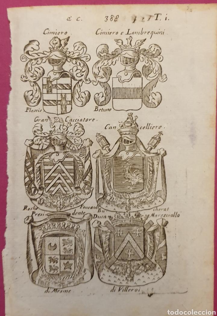 GRABADO DE ESCUDOS ITALIANOS O FRANCESES (Arte - Grabados - Antiguos hasta el siglo XVIII)