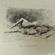 Arte: FORTUNY POR MIGUEL SEGUÍ (BARCELONA 1858-1923) GRABADO EL MORIBUNDO CENTENARIO MUERTE 1975. Lote 275881258