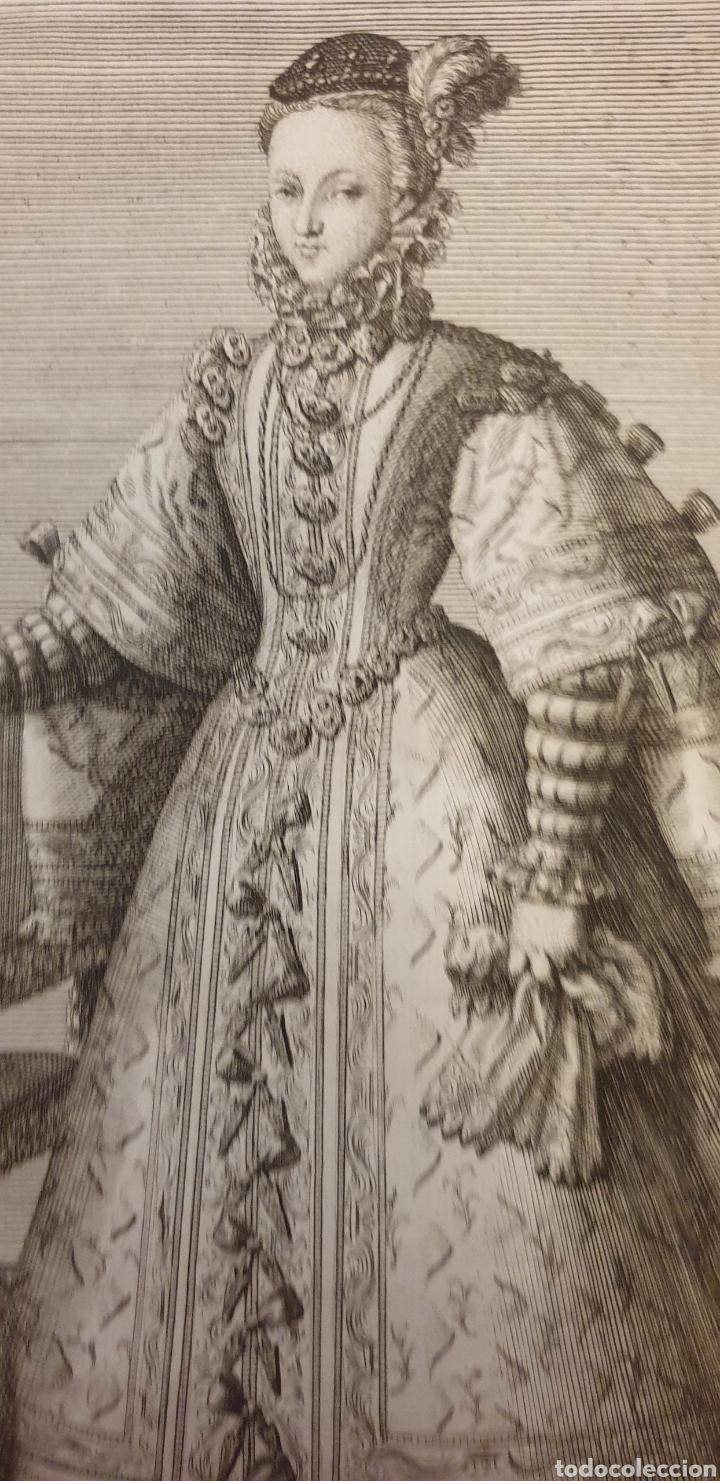 Arte: Grabado sobre la esposa de Felipe II.Ana mover - Foto 2 - 275964638