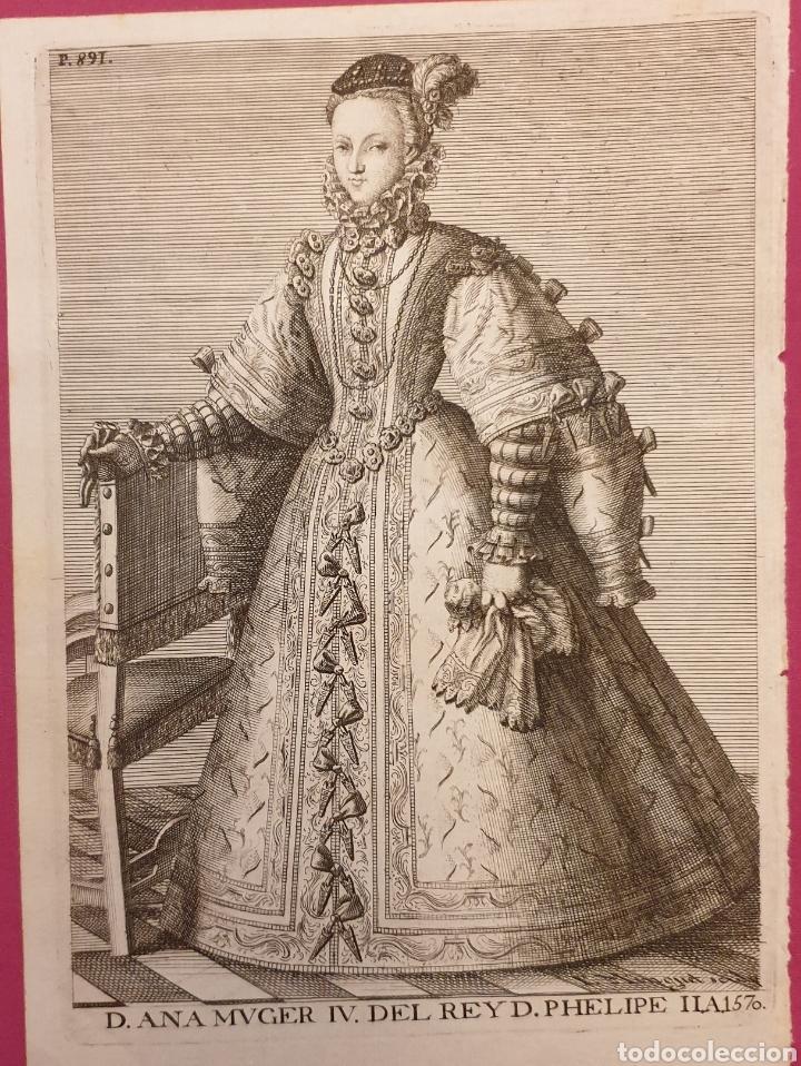 GRABADO SOBRE LA ESPOSA DE FELIPE II.ANA MOVER (Arte - Grabados - Antiguos hasta el siglo XVIII)