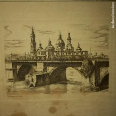 Arte: ANTIGUO GRABADO EL PILAR ZARAGOZA. Lote 276114968