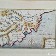 Arte: MAPA DE LA COSTA DE BLANES. PEREL BAULIEU. GRABADO COLOREADO SOBRE PAPEL. 1680.. Lote 276478943