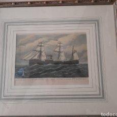 Arte: ANTIGUO GRABADO ENMARCADO, CRUCERO ISABEL II. Lote 276665973
