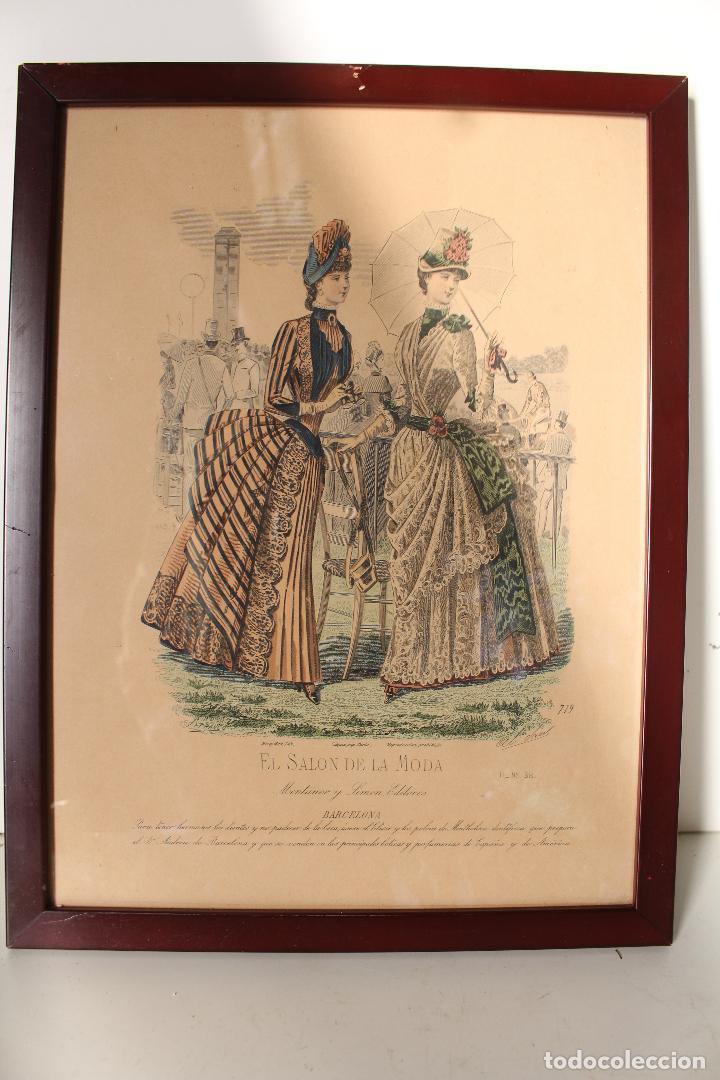 EL SALON DE LA MODA , MONTANER Y SIMON - BARCELONA - GRABADO MODA -PRIMEROS AÑOS 1900 (Arte - Grabados - Modernos siglo XIX)