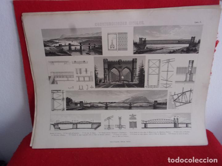 Arte: grabado Gras y compañia,puentes de hierro,del XIX - Foto 3 - 276801078