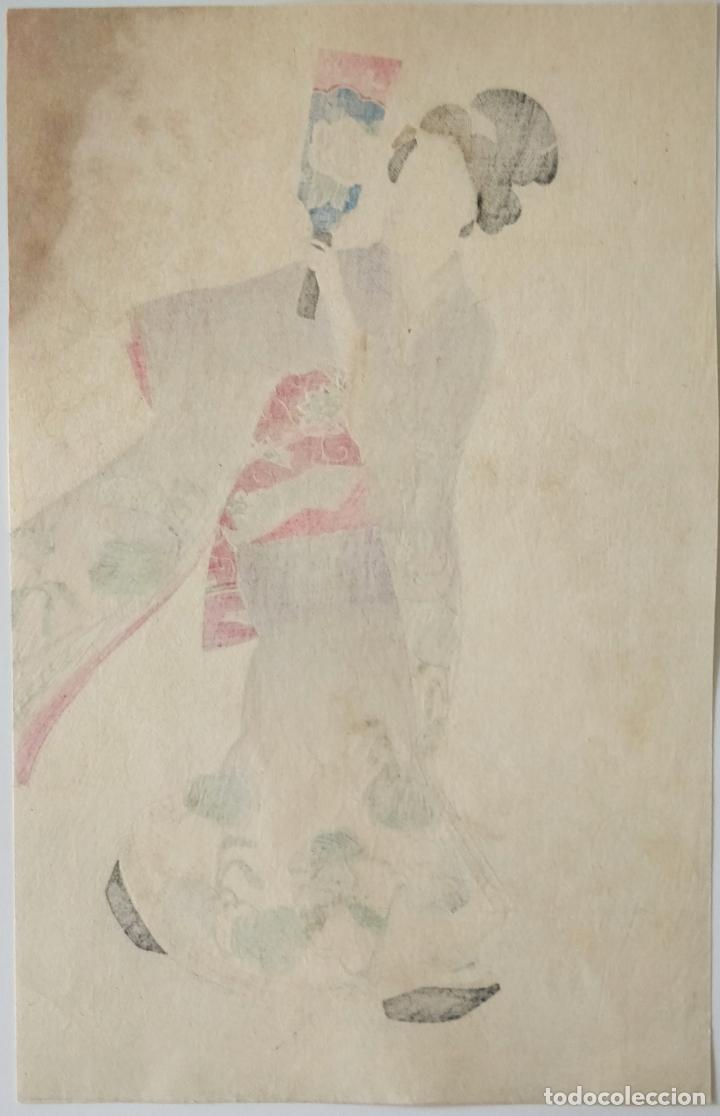 Arte: Excelente grabado original japonés, maestro del ukiyoe Katsukawa Shuntei, siglo XIX, calidad - Foto 2 - 276799393