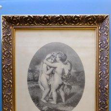 Arte: CUPID AND PSYCHE, REPRODUCCIÓN DE GRABADO ENMARCADO. 38 X 46 CM. MARCO MADERA ESTUCADO. Lote 277198578