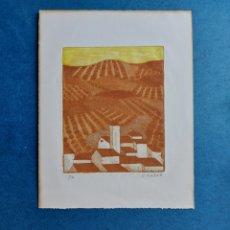 """Arte: CONCHA IBÁÑEZ """"EL PUEBLO Y SUS CAMPOS"""" GRABADO. Lote 277214638"""