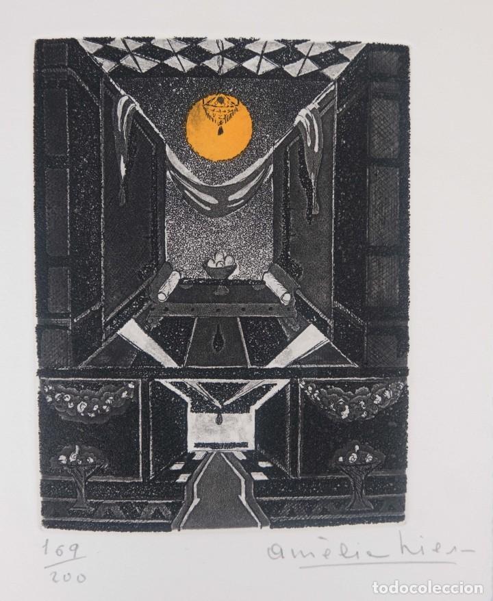 GRABADO 169/200 INTERIOR ESTANCIA FIRMADO A LÁPIZ AMÈLIA HIENA (Arte - Grabados - Contemporáneos siglo XX)