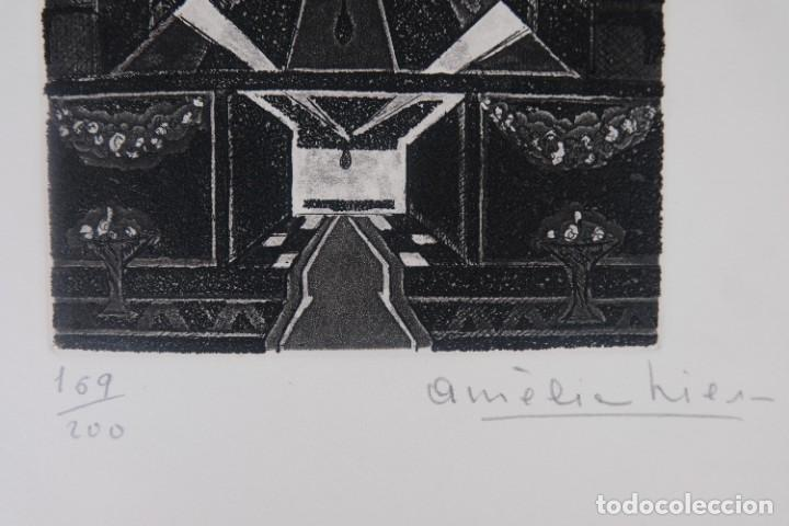 Arte: Grabado 169/200 Interior estancia firmado a lápiz Amèlia Hiena - Foto 5 - 277517878