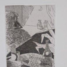 Arte: FRANCESC ARTIGAU GRABADO 196/200 MESA CON COMIDA Y PERSONAJE FIRMADO A LÁPIZ Y FECHADO 1976. Lote 277518043