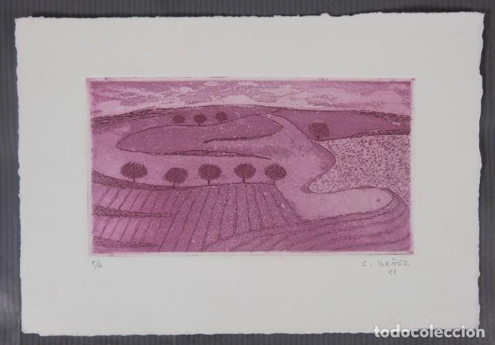 Arte: Concha Ibañez grabado P/A Paisaje firmado a lápiz y fechado 1991 - Foto 2 - 277518118